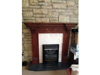 Complete fireplace and electric heater
