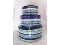 Set of 3 x DENBY Cake Tins. Azure Imperial Blue.