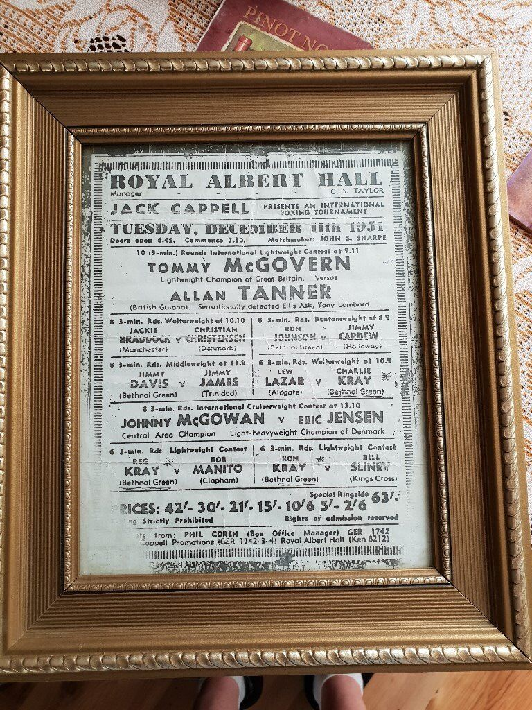 Original Framed Boxing Poster Royal Albert Hall 1951 | in Woodley ...