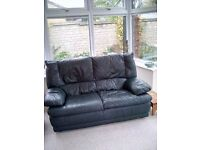 Dark Green Leather Sofa and swivel chairs