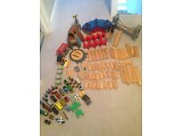 Wooden Train Set and accessories with sound effects