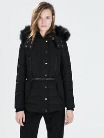 ZARA DOWN PUFFER ANORAK JACKET WITH FURRY REMOVABLE HOOD AND BELT S