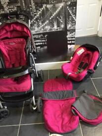 Graco pink and grey complete travel system