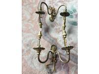 Pair vintage brass twin wall lights shell design