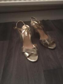 Heeled Gold sandals. Dorothy Perkins Size 6
