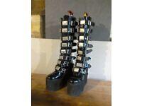 Boots. Ladies black patent retro boots