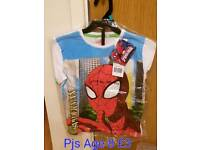 Spiderman Pj Top And Shorts Age 8