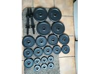 43.5KG Cast Iron Dumbbell Weights Set in good condition (EZ, barbell, bench, press, squat, rack)