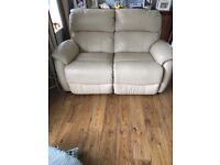 2 seater cream leather recliner sofa £50 or best offer