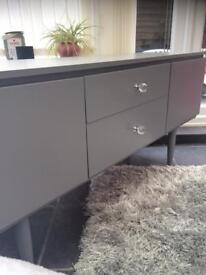 VINTAGE UPCYCLE GREY CABINET WTH CRYSTAL HANDLES