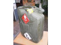 "EX-MILITARY PETROL/ DIESEL CAN - V.G.C. 19"" high x 14"" wide x 6"" deep good strong handle & cap"