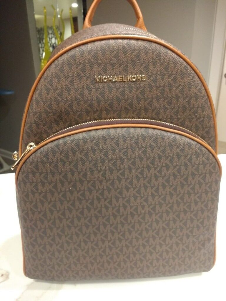 86dea53cc25c MICHAEL KORS 2018 MK LOGO ABBEY BROWN ACORN LG BACKPACK /LATEST MEDIUM  SIGNATURE