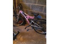 "Ladies pink trax Halfords mountain bike 26"" wheel"