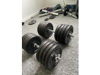 2 x 42.5kg adjustable dumbbells - 85kg total