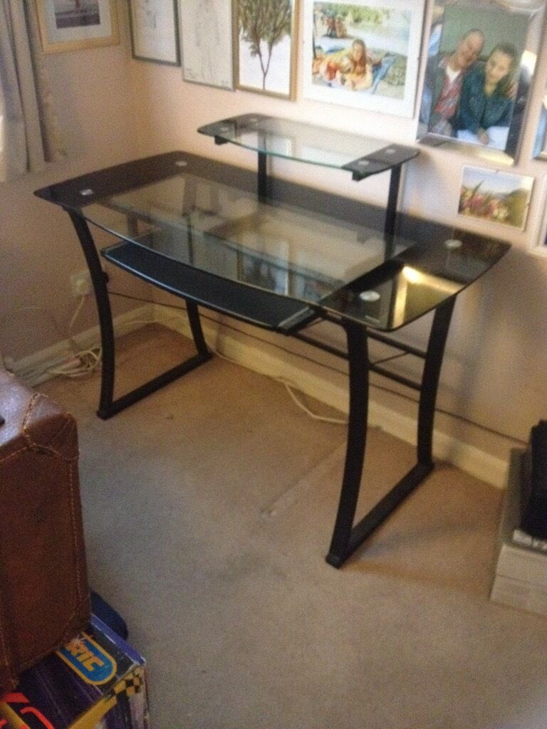 Large Computer Desk Glass And Black Metal With Slide Out Shelf Below
