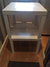 2 white ikea tables