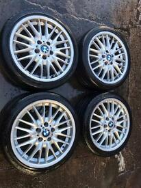 "18"" GENUINE BMW MV1 Alloy wheels 225/40/18 tyres"