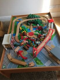 Big city train set and table.