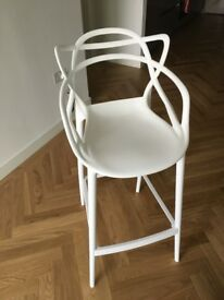 Masters modern designer bar stool 75cm high white plastic