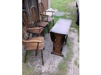 Oak Table with 2 Chairs, 2 Carvers, Solid Oak FREE delivery, antique vintage