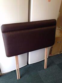 Brown Faux Leather Single Headboard