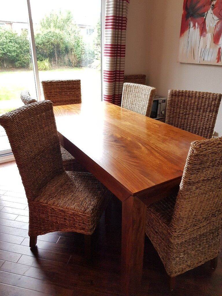 Dakota solid mango wood dining table 6 wicker chairs plus large matching mirror from next