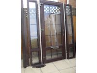 RAHUL ROSEWOOD UPVC DOUBLE GLAZED FRONT DOOR AND DOUBLE SIDE PANELS - ONLY FOUR YEARS OLD