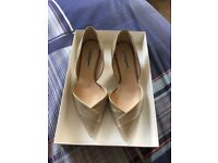LK Bennett party shoes with kitten heels, gold.