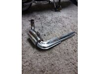 Vespa retro exhaust stainless steel with twin tailpipipe