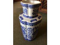 Large Blue and White, Porcelain Floor Vase.