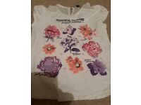 Girls white tshirt with purple and pink flowers