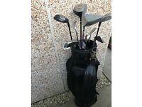 Golf clubs, bag, balls