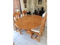 Light Brown Wooden Dining Table with 4 Matching Chairs