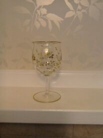 5 vintage gold painted wine glasses