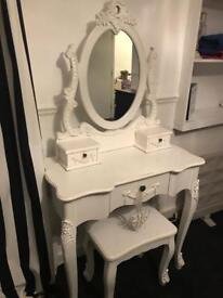 Dressing table, stool and mirror
