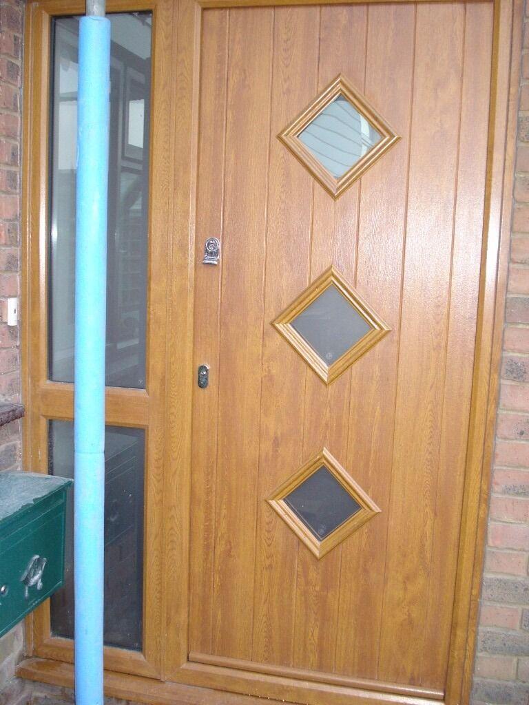 Solidor light oak composite front door with double glazed for Composite double glazed doors