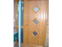 SOLIDOR Light Oak Wood Front Door with Double Glazed Panels