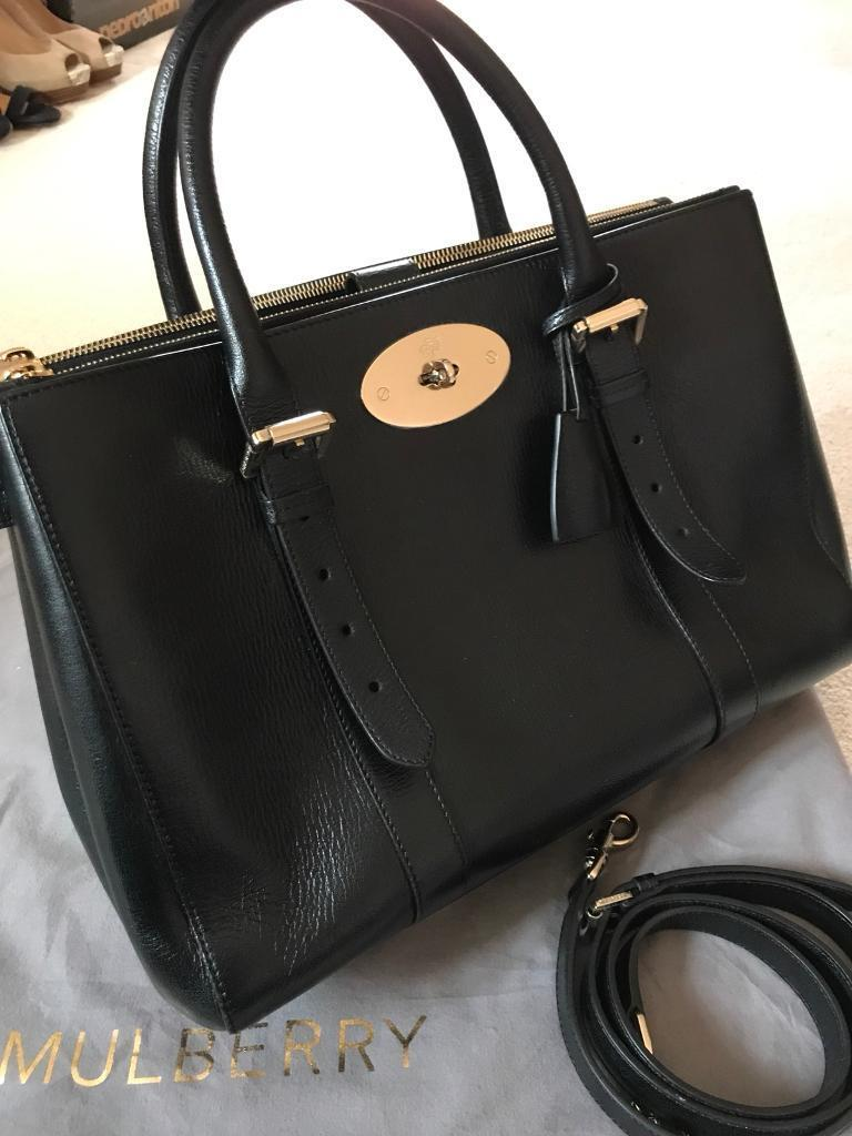 Mulberry Bayswater Double Zip Tote Black Shiny Goat  02e2362495b9b