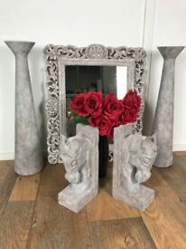 Stone Effect Solid Wood Horse Book Ends