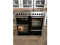 Beko A+++class 100cm Ex display model Range cooker in stainless steel DOUBLE oven grill and storage