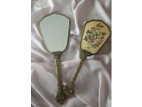 Vintage 1950s Reagent of London vanity gilded brush and mirror set