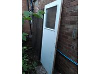 "Wooden door with glass window panel 31.5"" x 71.5"""
