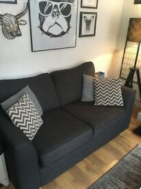 TWO SEATER SOFA IN SLATE GREY EXCELLENT CONDITION