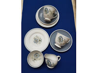 Susie Cooper Glen Mist 2Tea Cups, Saucers, Plates and Small Sugar Bowl and Small Jug