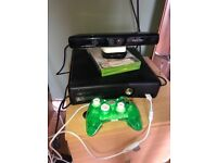 Xbox 360 with Xbox Kinect, controller and 2 games