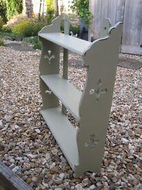 Shabby chic upcycled painted wooden shelves. Lovely sage green shade. Useful shelf unit.