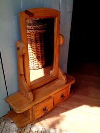 Vintage pine swing mirror