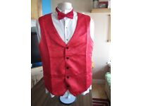 Mens red paisley print waistcoat & dickie bow set.size large