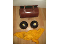 bowling woods and bag, two bowling woods, bowls, Thomas Royle