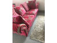 Dfs grey and pinkish sofa & arm chair
